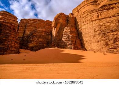 Deserted landscape of Wadi Rum, Jordan