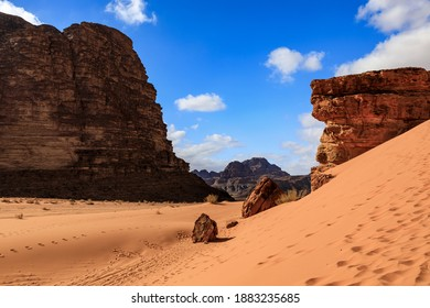 Deserted landscape of Wadi Rum in Jordan