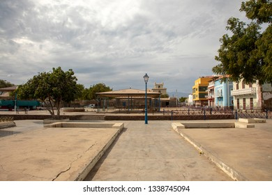 Deserted market square with tree in Mindelo on the island of Sao Vicente in Cape Verde.