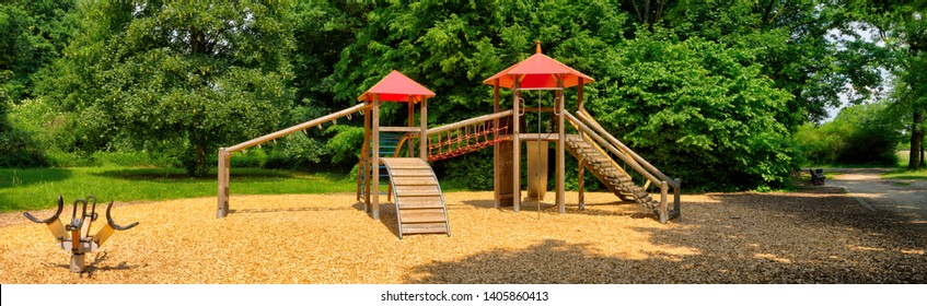 a deserted playground in the morning