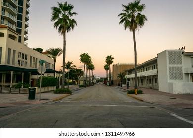 Deserted road in Miami Beach Florida.