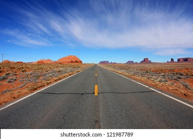 Deserted road near Monument Valley in Arizona.