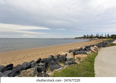 Deserted Scarborough Beach under an approaching storm, Redcliffe Peninsula, Queensland, Australia