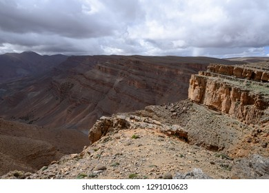 Deserted slopes and cliffs of Atlas Mountains with no vegetation, Morocco