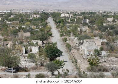 Deserted street in Agdam, ghost town in Nagorno-Karabakh (Artsakh) republic