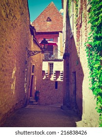 Deserted Street of the French City of Sarlat, Instagram Effect