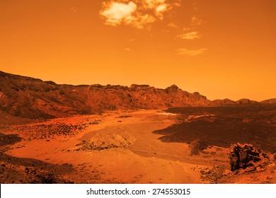 Deserted terrestial planet in orange colors