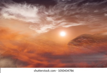 Deserted terrestrial planet . Fantasy Apocalypse .    Dramatic nature background . Volcanic breed of a stone . Planet Hell . Lifeless earth .      Mars is a large rock with thin atmosphere .  desert .