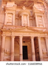 Deserted territory in the east of Jordan. 01. 13. 2017. View of archaeological excavations of masterpieces of architectural art of the ancient city of Petra in the stone desert.