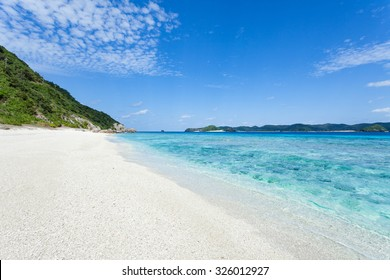 Deserted tropical beach with clear turquoise sea, Kerama Islands National Park, Okinawa, Japan