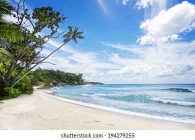 Deserted tropical beach , Silhouette island, Seychelles, Africa