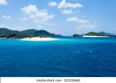 Deserted tropical islands with white sand beach and clear blue water, Kerama Islands National Park, Okinawa, Japan