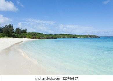 Deserted tropical Japanese beach with clear water, Miyako Island, Okinawa