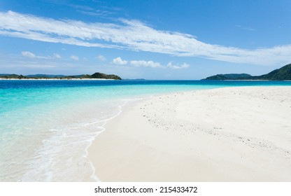 Deserted tropical paradise beach with clear blue lagoon water of a southern Japanese island, Zamami of Kerama Islands National Park, Okinawa