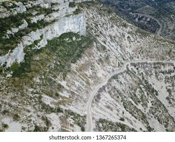 Desertic landscape of Circus of Navacelles in Herault,  famous meander dug by erosion,  France