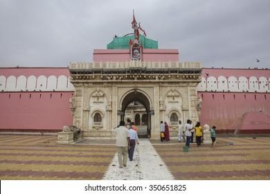 DESHNOK, INDIA - APRIL 12: The exterior gate of the Karni Mata Temple on April 12, 2015 in Deshnok, India. Over 20000 holy rats live in Karni Mata Temple