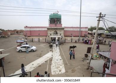 DESHNOK, INDIA - APRIL 12: The Karni Mata Temple from outside on April 12, 2015 in Deshnok, India. Over 20000 holy rats live in Karni Mata Temple