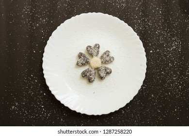 Desiccated coconut milkmaid peda heart shaped