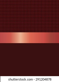 Design of abstract forms called crow's feet in black and red tones, metallic crimson red tape in the middle and dark red at the bottom.