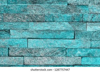 design aged light blue natural quartzite stone bricks texture for design purposes.