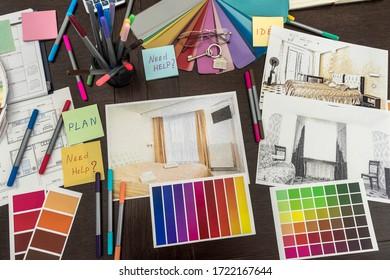 Design architecture drawing renovation color palette blueprints at office. Home construction