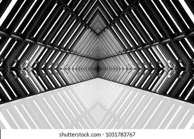 design of architecture metal structure similar to spaceship interior. abstract modern architecture black and white photo.