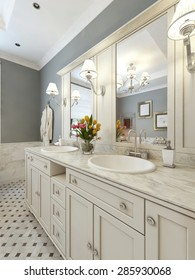 Design a bathroom in the art deco style with Vanites and bath. 3d render.