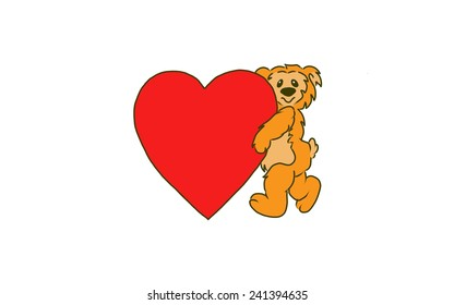 Design of a Bear holding a large Valentine heart.