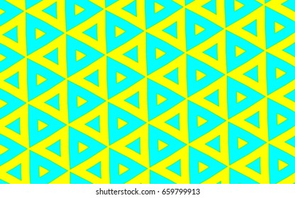 A design of bright blue triangles and yellow triangles with dots in a diagonal pattern.