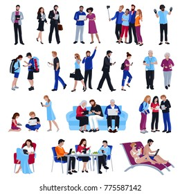 Design collection of people looking in gadgets screen in cafe and office on street and beach flat isolated  illustration