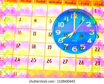 Design and colorful of clock face with calendar page on time and planning concept, double exposure