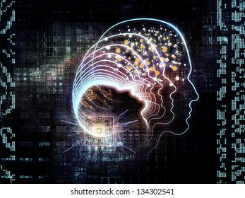 Design composed of outlines of human head, technological and fractal elements as a metaphor on the subject of artificial intelligence, computer science and future technologies