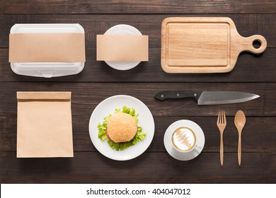Design concept  brand of mockup burger set on wooden background. Space for text.
