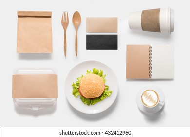 Design concept  brand of mockup burger set isolated on white background. Copy space for text and logo. Clipping Path included isolated on white background.