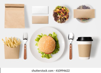 Design concept of mock up burger and coffee set on white background. Copy space for text and logo.