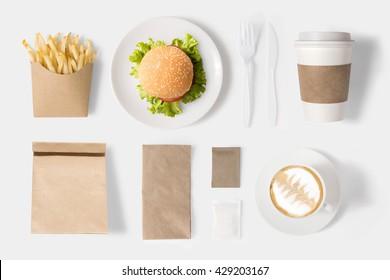 Design concept of mock up burger and coffee set on white background. Copy space for text and logo. Clipping Path included on white background.