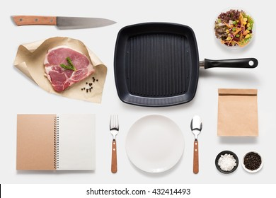 Design concept of mockup bbq steak set isolated on white background. Copy space for text and logo. Clipping Path included isolated on white background.