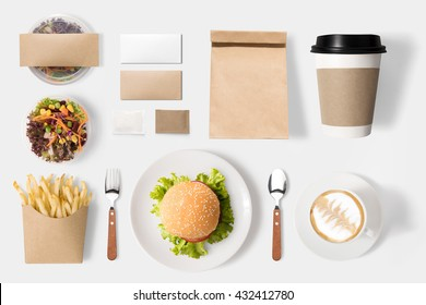 Design concept of mockup burger and coffee set isolated on white background. Copy space for text and logo. Clipping Path included isolated on white background.