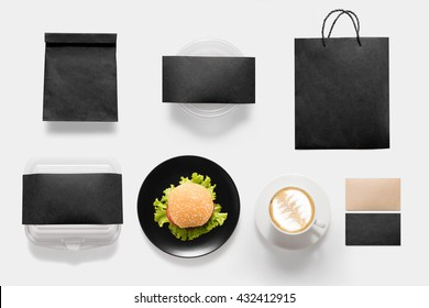 Design concept of mockup burger and coffee break time set isolated on white background. Copy space for text and logo. Clipping Path included isolated on white background.
