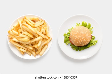 Design concept of mockup burger and french fries set isolated on white background. Clipping Path included on white background.