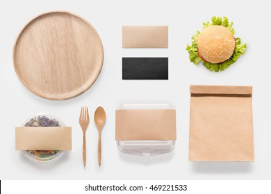Design concept of mockup burger and salad set isolated on white background. Copy space for text and logo. Clipping Path included isolated on white background.