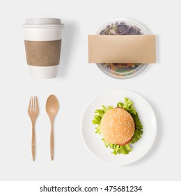 Design concept of mockup burger, salad and coffee set isolated on white background. Clipping Path included isolated on white background.