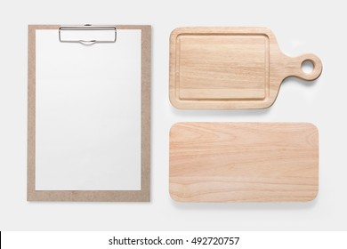 Design concept of mockup clip board and cutting board set isolated on white background. Copy space for text and logo. Clipping Path included on white background.