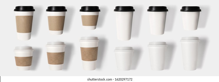 Design concept of mockup coffee cup set on  isolated on white background. Copy space for text and logo. Clipping Path included isolated on white background.
