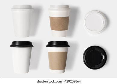 Design concept of mockup coffee cup set and lid set on white background. Copy space for text and logo. Clipping Path included on white background.
