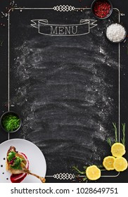 Design concept for restaurant menu mockup. Black rustic chalkboard with white inscription and vegetables frame, top view, copy space for text and logo