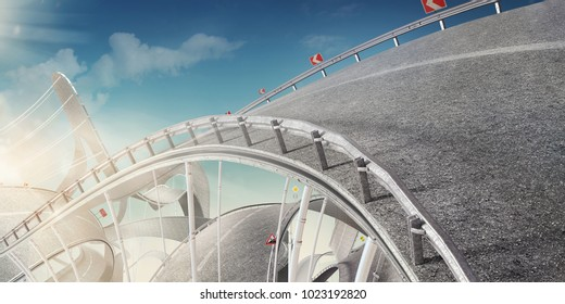 Design concept for a sport or Travelling background. Road like the roller coaster.