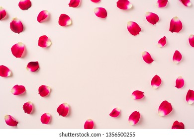 Design concept - top view of red rose petal pattern on pink background with circle shape for mother, wedding and valentine day mockup