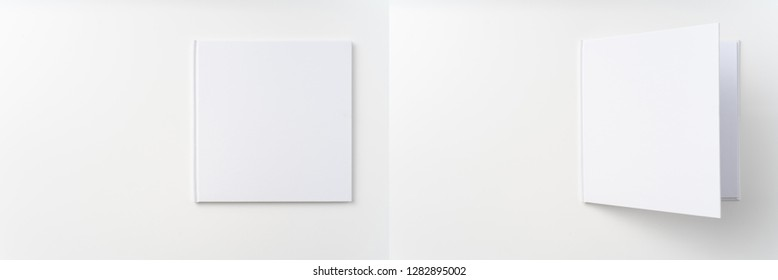 Design concept - view white hardcover notebook with open cover isolated on background for mockup. Not 3D render