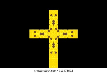 design of a cross on a black background